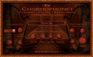 Virtual Harp and Hammered Dulcimer sample based instrument, featuring Celtic and Concert Harps, Pre-recorded Harp Glissando and Upward-Downward Harp Glissando, and Hammered Dulcimer modes...